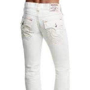 TRUE RELIGION 38 NWT White Abcot Denim Jeans